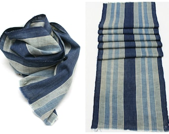 Japanese Artisan Hand Loomed Ikat. Vintage Cotton Scarf. Striped Indigo Folk Textile Supply Fabric (Ref: 85C)