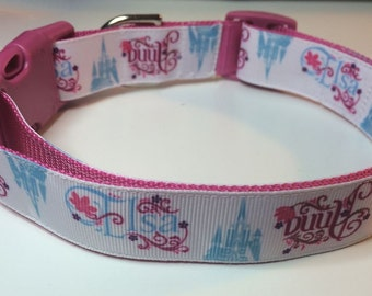 "Anna and Elsa Woven Ribbon 1"" Dog Collar Size M or L"
