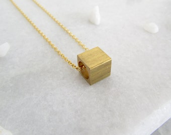 Minimalist Cube Necklace - Minimalist Necklace, Minimalist Jewellery, Minimal Necklace, Minimal Jewellery, Gifts for her, Gold Necklace