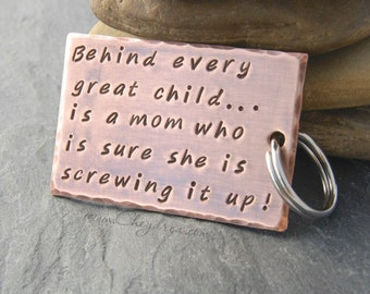 GIFT FOR MOM. Behind Every Great Child Is A Mom Who Is Sure She Is Screwing Up. For Mom From Daughter, For Mom From Son, Wife From Husband.