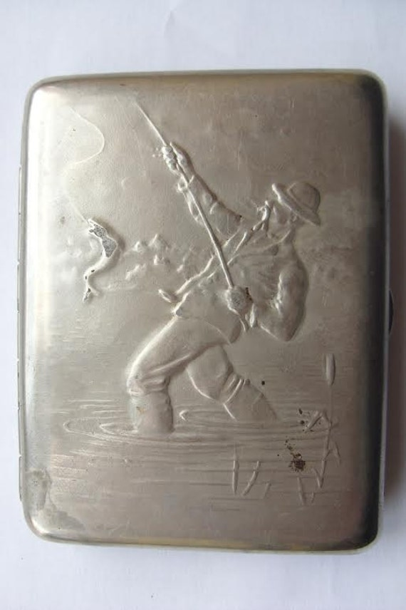 Vintage Soviet German silver coating CIGARETTE CASE FISHERMAN catching Fish Old!