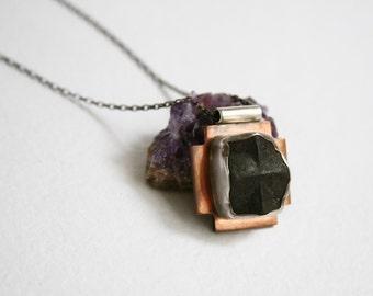 Stone Cross Pendant, Statement Pendant, Rustic, Fairy Cross Pendant, Rare Stone, Staurolite, Taos, Mixed Metal Pendant, Handmade Jewelry