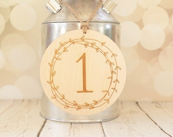 Wedding Table Number Sign Rustic Engraved Wedding Table Numbers Laurel Wreath Table Numbers