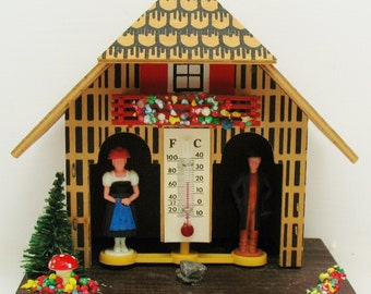 VTG German Bavarian Austrian Weather House  Mushroom Thermometer Barometer Forecaster Black Forest Chalet Folk Art Decoration Minature