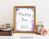 Purple Blue Lilac Hydrangea Floral Bridal Shower sign, Mimosa Bar Sign, Watercolor Classic Elegant Wedding Invite Printable Digital