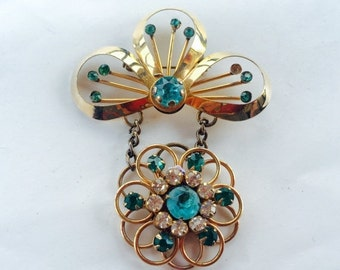 MOVING SALE Half Off Shabby Chic  Rose Gold Filled and Blue and Clear Rhinestone Dangle Flower Brooch