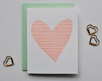 xo heart letterpress card