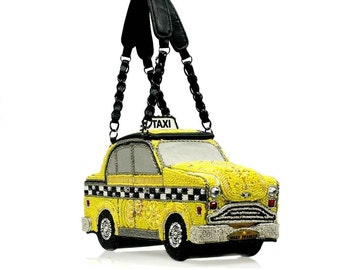Mary Frances Purse//Handbag//Yellow Taxi//Beaded//Dust Cover//Certificate of Authenticity//Limited Edition