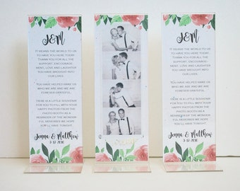 Vintage Wedding Photo Booth Acrylic Frames Party Favor Floral Theme