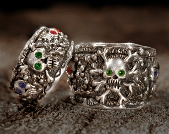 skull wedding ring setpirate wedding ringssilver skull ringsilver skull wedding - Skull Wedding Ring Sets