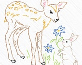 Deer & Bunny Tea Towel Embroidery Kit, Beginner Embroidery Kit, Brown Fawn, Grey Bunny, DIY Sewing, Hand -Stitching - Heidi Boyd