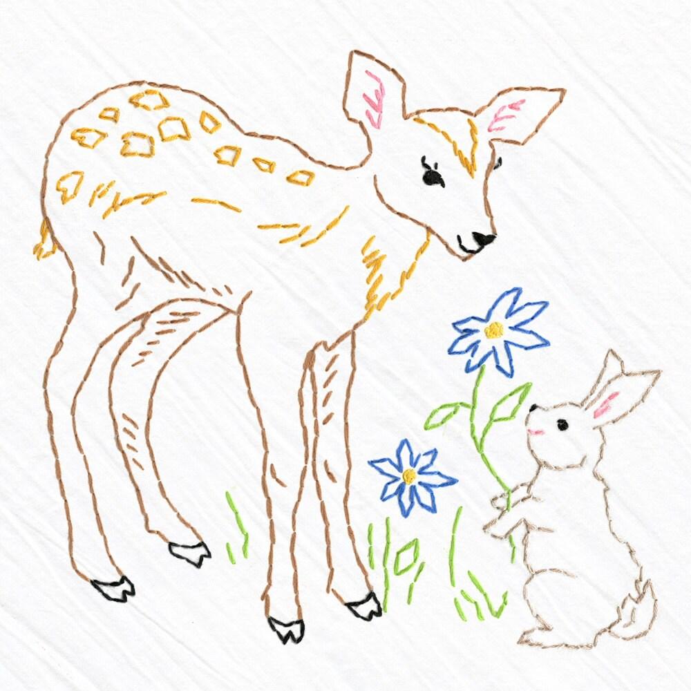 Deer bunny tea towel embroidery kit beginner