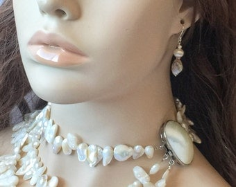 Cream Mother of Pearl Multistrand Necklace with Large Mother Of Pearl Box Clasp