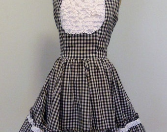 Darling Late 1950s Vintage Gingham and Eyelet Bustled Rockabilly Square Dance Western Dress Small