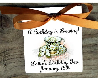 Dogwood Teacup Personalized Tea Bag Birthday Wedding and Bridal Shower Party Favors