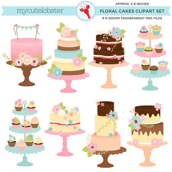 Floral Vintage Cakes Clipart Set - cakes with flowers, wedding, vintage, rustic - personal use, small commercial use, instant download