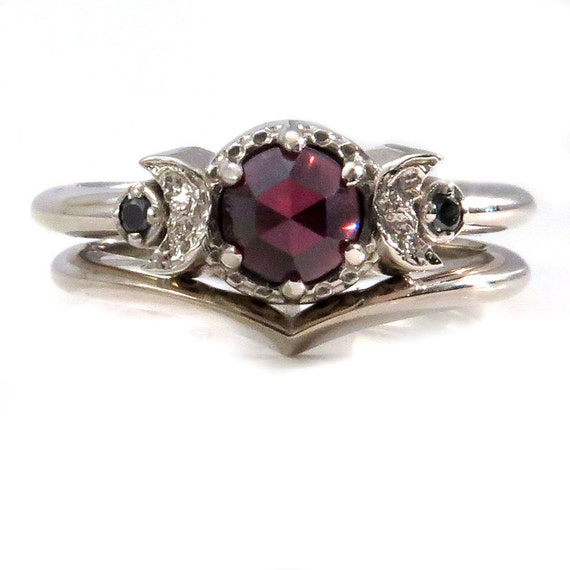 Garnet and Black Diamond Moon Phase Engagement Ring Set - Fine Contemporary Handmade Jewelry