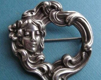 On Sale Art Nouveau Lady With Flowing Hair Brooch Sterling Silver Antique Pin