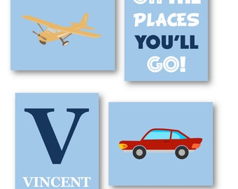 Airplane Nursery Decor - Oh The Places You'll Go Art - Airplane Wall Art - Plane and car Art Prints - Art for Boys Room - Four PRINTS ONLY