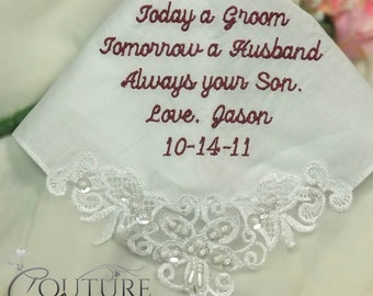 Wedding Gifts for Mother of the Groom and Mother In Law Custom Wedding Handkerchief Makes the Perfect Gift