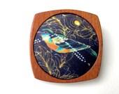 Wooden Brooch / Pendant - Liberty of London and Mahogany - Beautiful Bird fabric