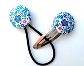 Hair Clip and Tie Set - Liberty of London - Cute Blue and Pink Floral SPECIAL PRICE