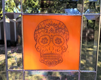 Contemporary Stained Glass Panel Suncatcher - Etched Sugar Skull (PLG067)