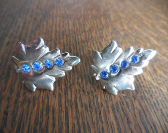 Vintage Gold/Silver Tone Leaf Blue Rhinestones Screw Back Earrings Non Pierced Small 1950s to 1960s