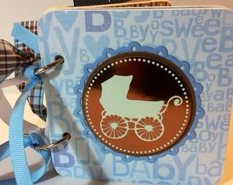 Baby Boy Scrapbook premade chipboard mini scrapbook album-4x4