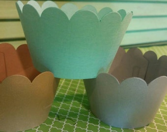 Cupcake Wrappers- Gold-Silver-Teal-Solid Cupcake Wrappers-Birthday-Wedding-Baby Shower-Anniversary-Bridal Shower-Sweet 16