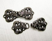 A Decorative Touch: Antiqued Silver Hook & Eye Closures - 2 Sets (2 Hooks, 2 Eyes)