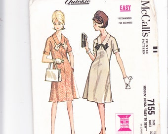 "McCalls 7155 Vintage Four Panel Dress With Bow A Quickie Size12 Bust 32"" Uncut Mad Men"