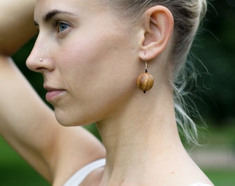 Large Apple Wood Earrings - Silver Hook - Lightweight & Natural Eco Friendly Jewelry, Kangaroo Care Handmade in Europe