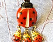 "Vintage-Retro 80's Ladybug Pin with 3 Little Ladybugs, Red enamel with gold accents, 1.5"" long"