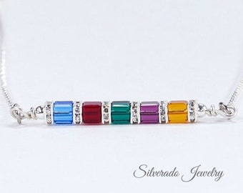 Personalized Mother's Birthstone necklace, 1-8 crystals, Swarovski Crystal horizontal sideways pendant. Grandmother's Necklace: Mother's Day
