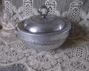 Vintage aluminum covered dish, Elegant dish, ornate, victorian style