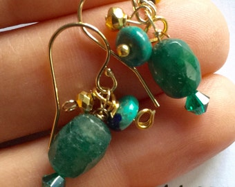 Emerald Turquoise Pyrite Gold Earrings, Jewelry, Lilyb444, Green Earrings, Gifts for her, Gifts under 50