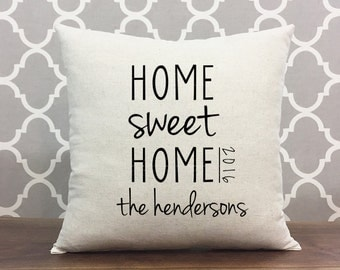 Home Sweet Home Pillow Personalized With Family Name And Year, Housewarming Gift, Cotton Linen Home Decor Pillow, Personalized Family Gift