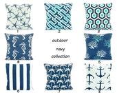 OUTDOOR Navy Blue Throw Pillow COVER Navy Aqua Beach Pillow Cushion Mix & Match All SIZES Couch Patio Pillow Nautical Outdoor Navy Cushion