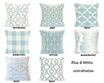 Blue White Throw Pillow COVERS ALL SIZES Couch Sofa Pillow Decorative Cushion Bedding Sham Cottage Shabby Chic Slate Blue Geometric Nursery