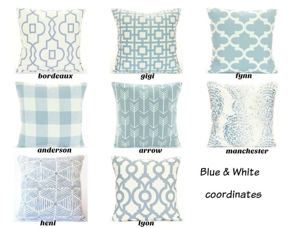 Throw Pillow Sizes Chart : Blue White Throw Pillow COVERS ALL SIZES Couch Sofa Pillow