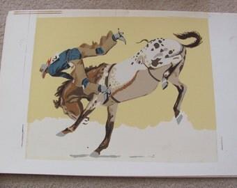 "Original Vintage Cowboy Rodeo Print Poster 12"" x 15"""