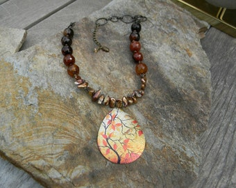 Beaded necklace fall leaves nature inspired woodland jewelry beaded jewelry leaf necklace unique gift for nature lover freshwater pearl