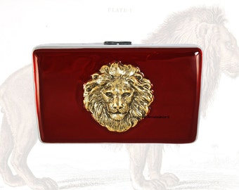 RFID Metal Wallet Large Lion Head Inlaid in Hand Pianted Ox Blood Enamel Leo Credit Card Wallet Custom with Personalized and Color Option