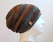 ON SALE Crochet Slouch Hat Brown Beanie, Mens Beanie, Womens Hat, Blue and Brown Striped, Mens Slouch Beanie, Mens Fashion, Fall Apparel