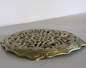 French Vintage Pot Stand Trivet in Brass Colored Metal LARGE