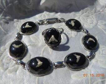 Vintage Black Stone & Silvertone Bracelet And Matching Ring