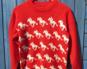 Vintage Knitted Wild Horses Patterned Jumper/Sweater - Machine Knitted