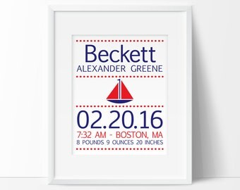 Nautical nursery, birth stats wall art, personalized baby gift, gifts for boys, sail boat nursery decor, NAUTICAL PRINTABLE, Nautical decor