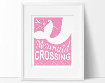 mermaid crossing, beach nursery decor, kids bathroom art, Mermaid nursery decor, mermaid nursery, INSTANT DOWNLOAD, mermaid nursery art